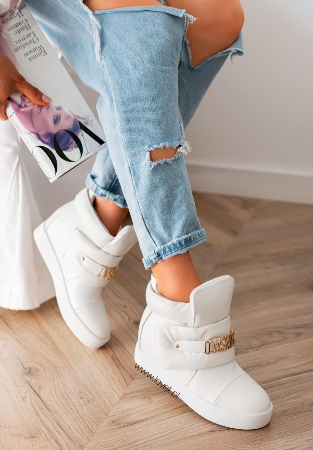 Trampki Sneakersy na Koturnie z Literkami Białe Geris