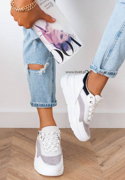 Trampki Sneakersy Wiązane Białe Linio