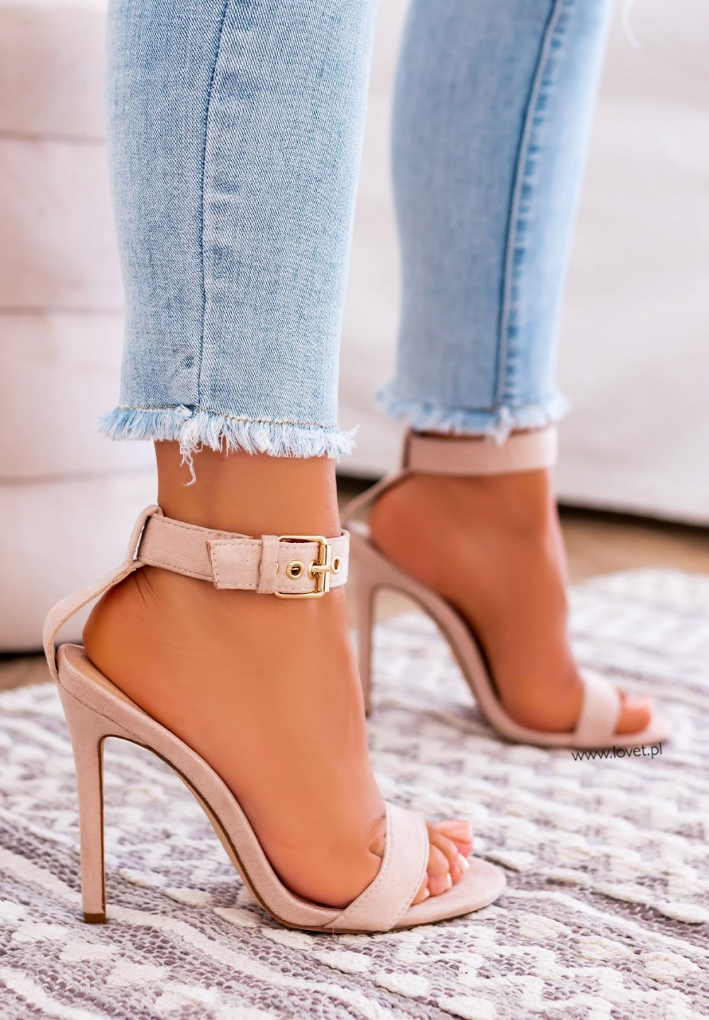 Sandały Na Szpilce Beżowe Amani