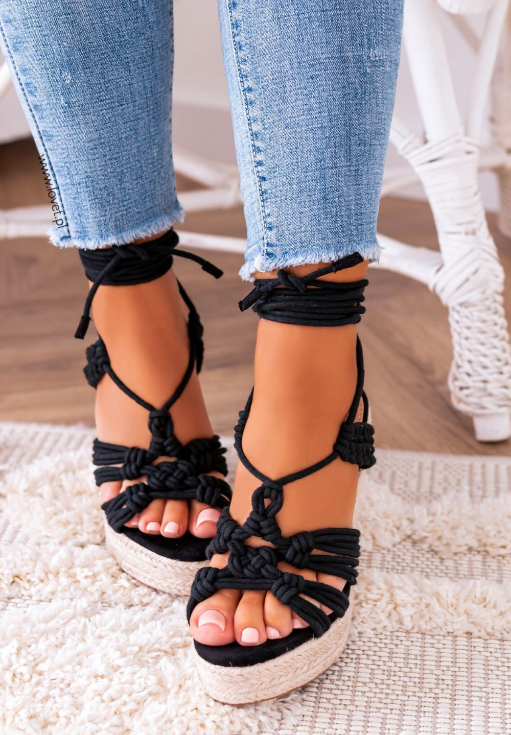 Sandałki Espadryle na Koturnie Czarne Olesia