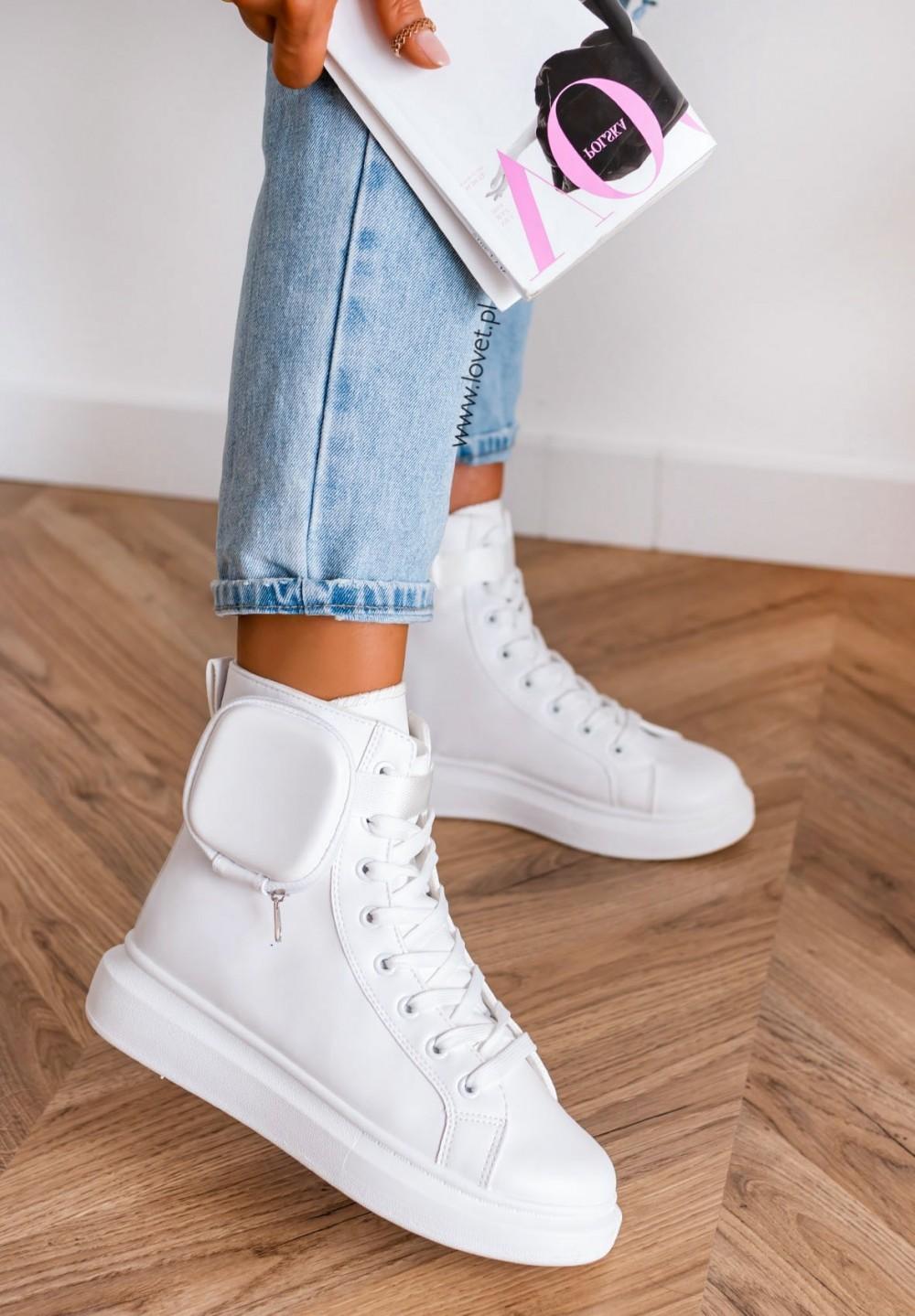 Trampki Sneakersy z Kieszonką Białe Namis
