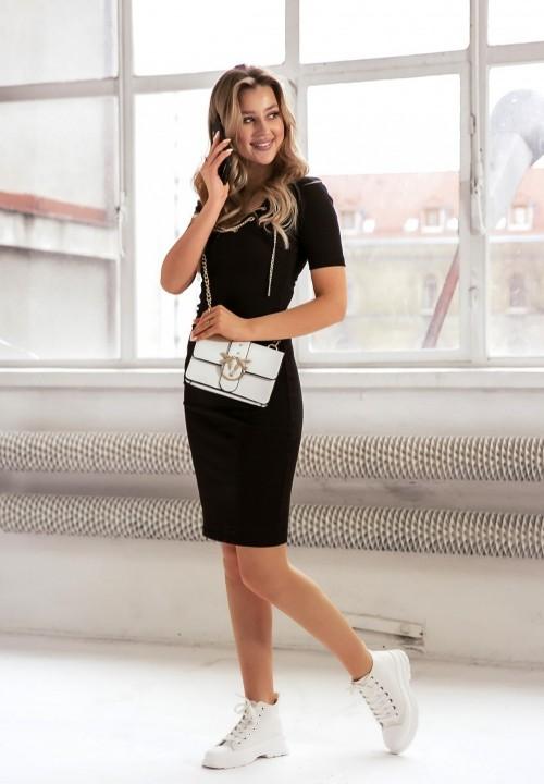 Sukienka Prążkowana  Czarna Xena