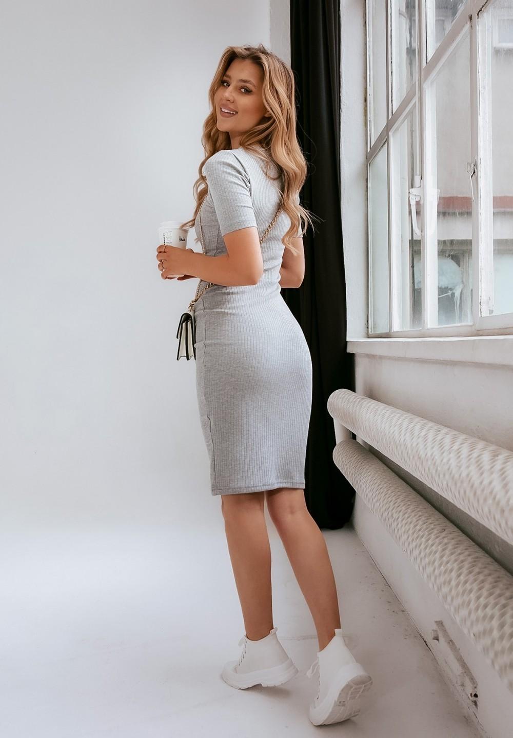 Sukienka Prążkowana Szara Xena