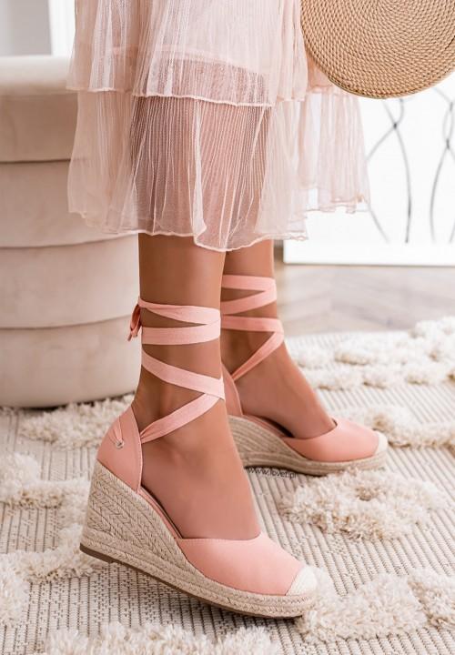 Sandały Espadryle Koturny Różowe Maddie