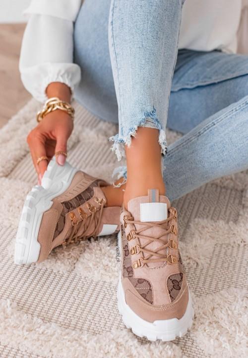Trampki Sneakersy we Wzorki Khaki Olise