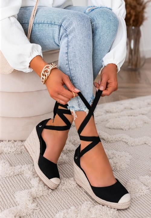 Sandały Espadryle Koturny Czarne Maddie