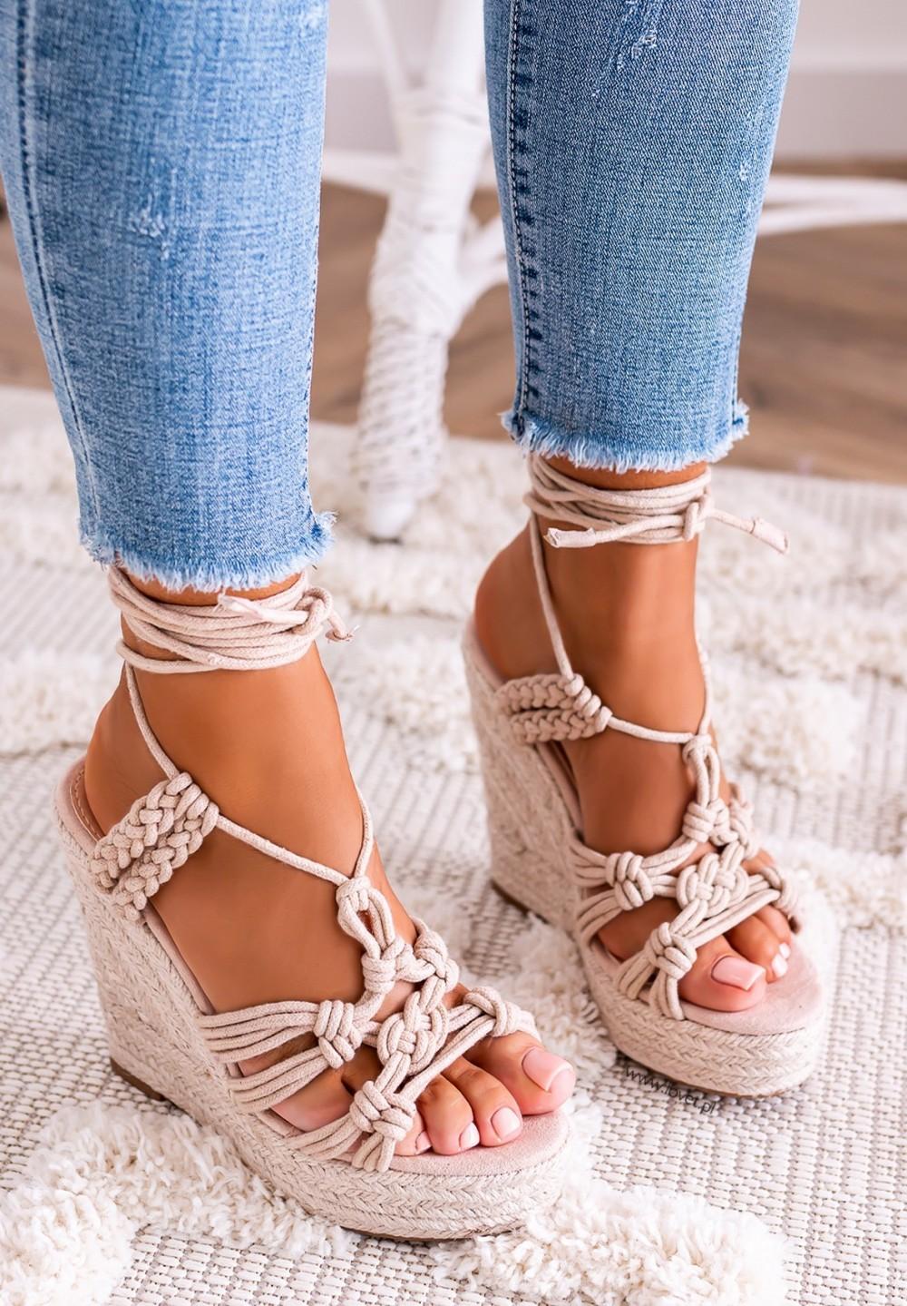 Sandałki Espadryle na Koturnie Beżowe Olesia