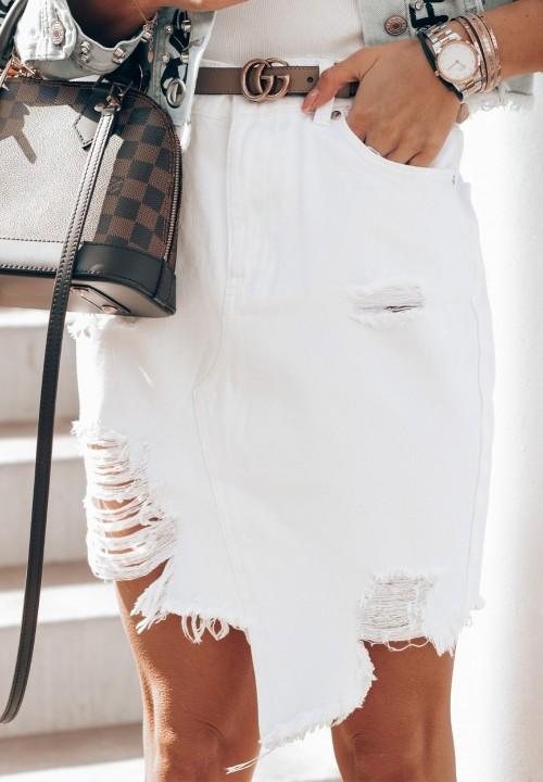 Spódnica Jeansowa Biała Juditt