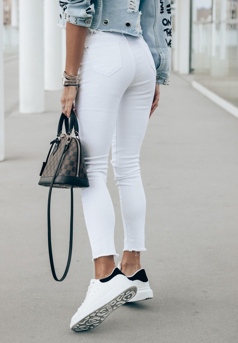 Spodnie Jeansy z Dziurami Białe Dua