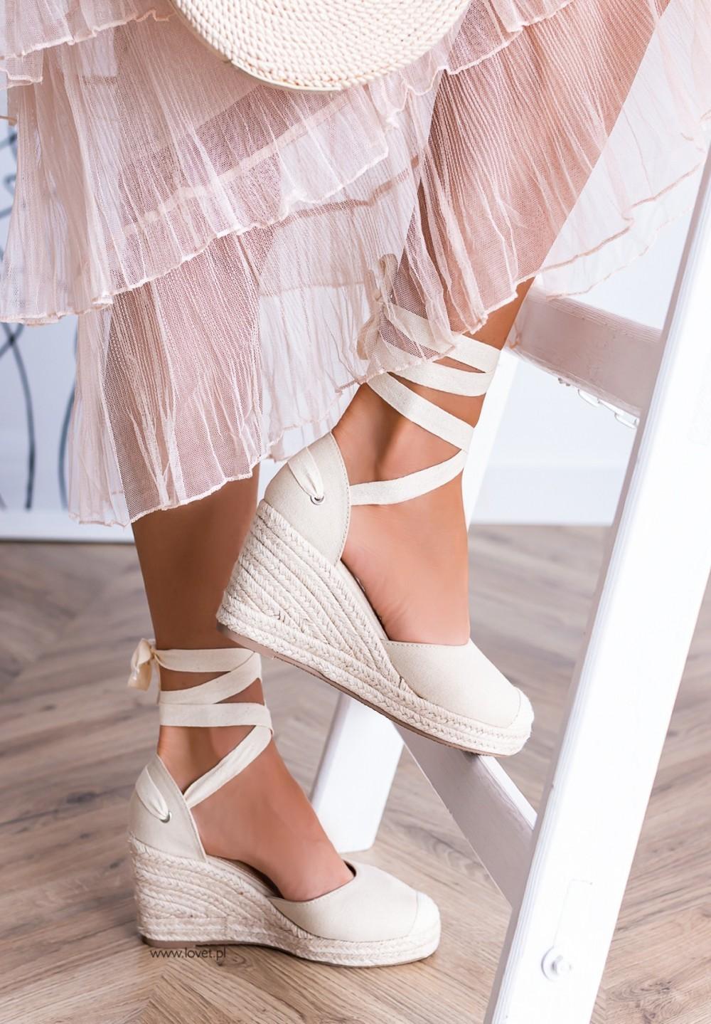 Sandały Espadryle Koturny Beżowe Maddie