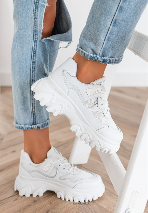 Trampki Sneakersy Białe Sylviane