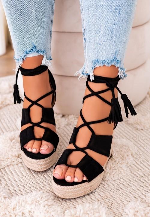 Sandały Espadryle na Koturnie Czarne Juliette