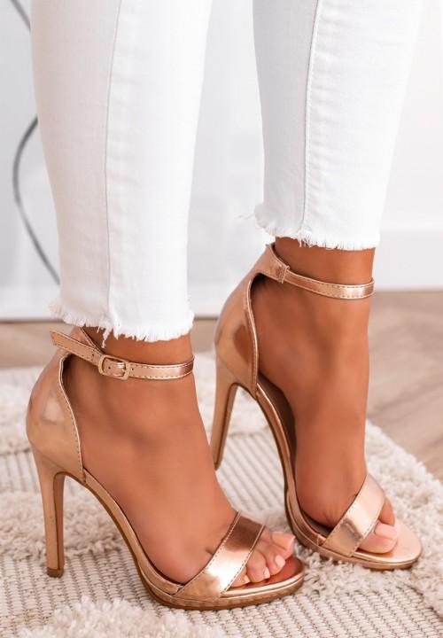 Sandały Na Szpilce Różowe Złoto Roy