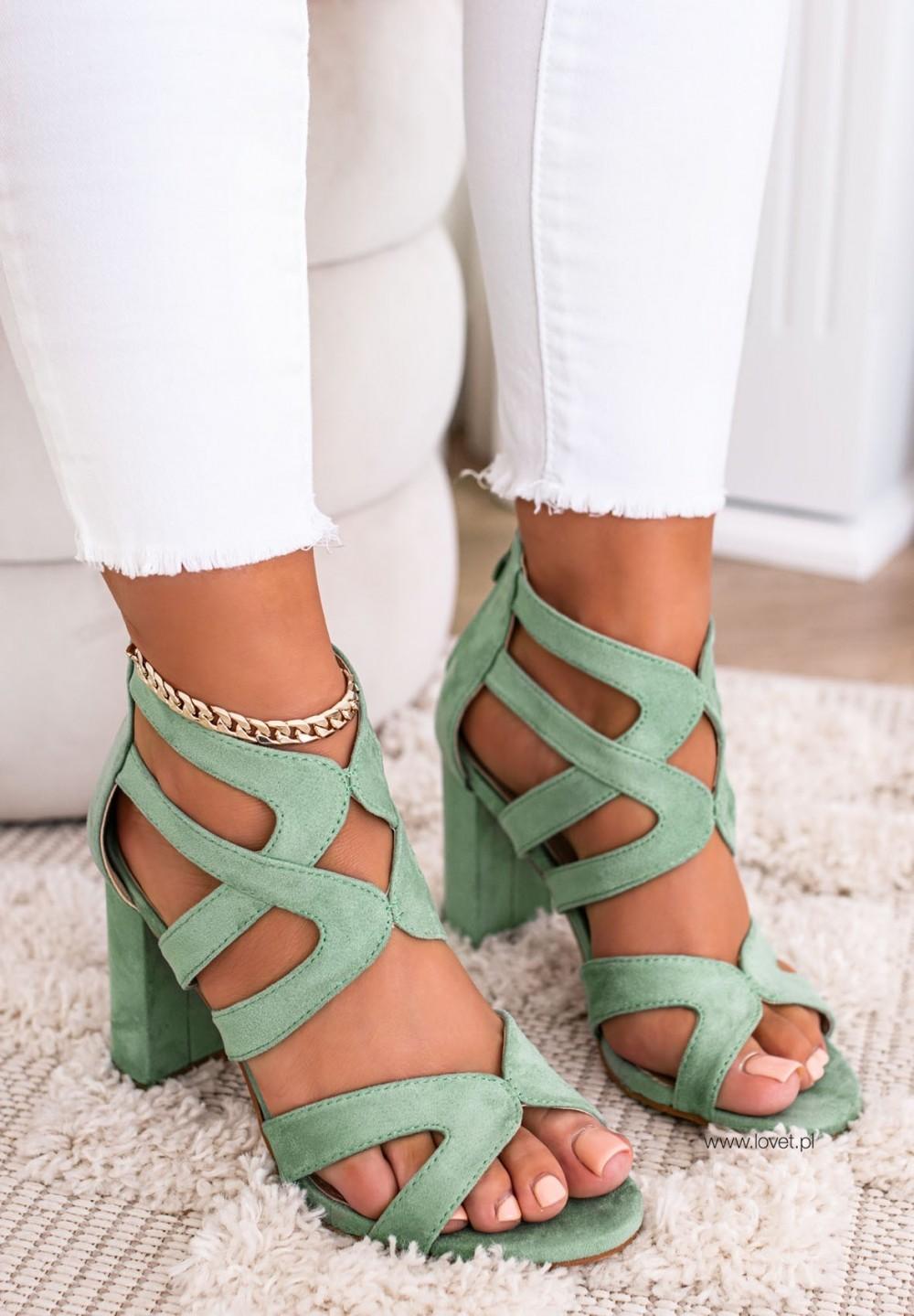 Sandały na Słupku Zielone Oris