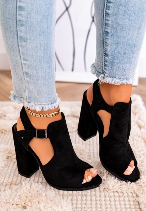 Sandały Na Słupku Cut Out Czarne Tessi