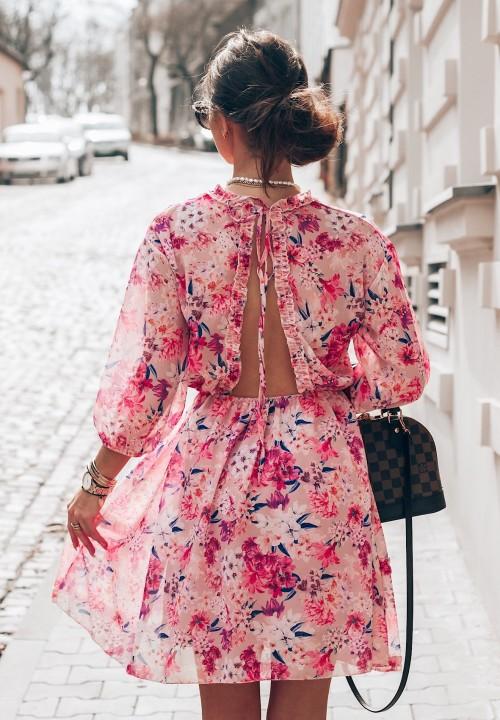 Sukienka w Kwiaty Różowa Florines