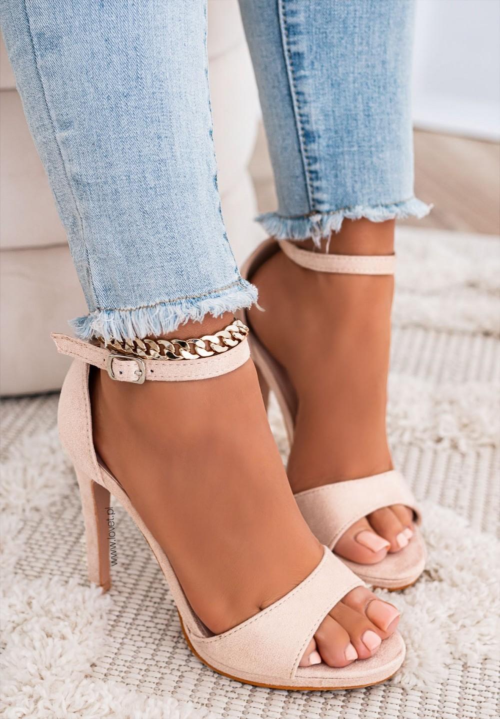Sandały Na Szpilce Beżowe Aura