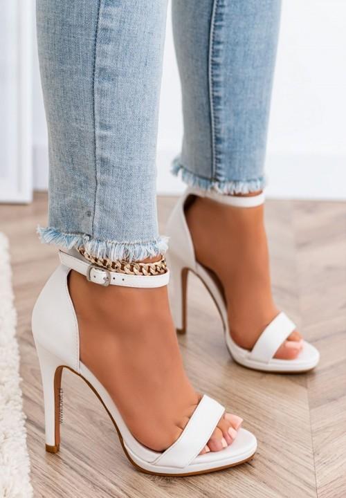 Sandały Na Szpilce Białe Roy