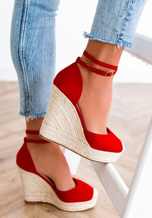 Sandały Espadryle Na Koturnie Czerwone Aurelie