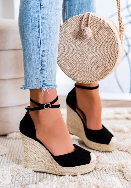 Sandały Espadryle Na Koturnie Czarne Aurelie