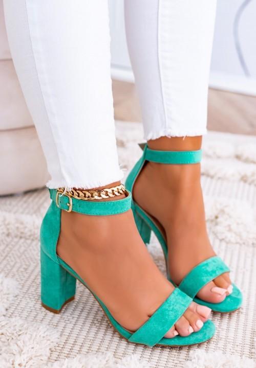 Sandały Na Słupku Zamszowe Zielone Arvel