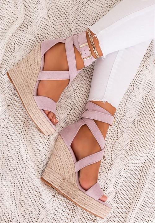Sandały Espadryle na Koturnie Fioletowe Agostina New