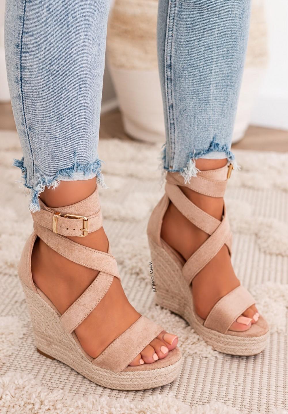 Sandały Espadryle na Koturnie Beżowe Agostina New