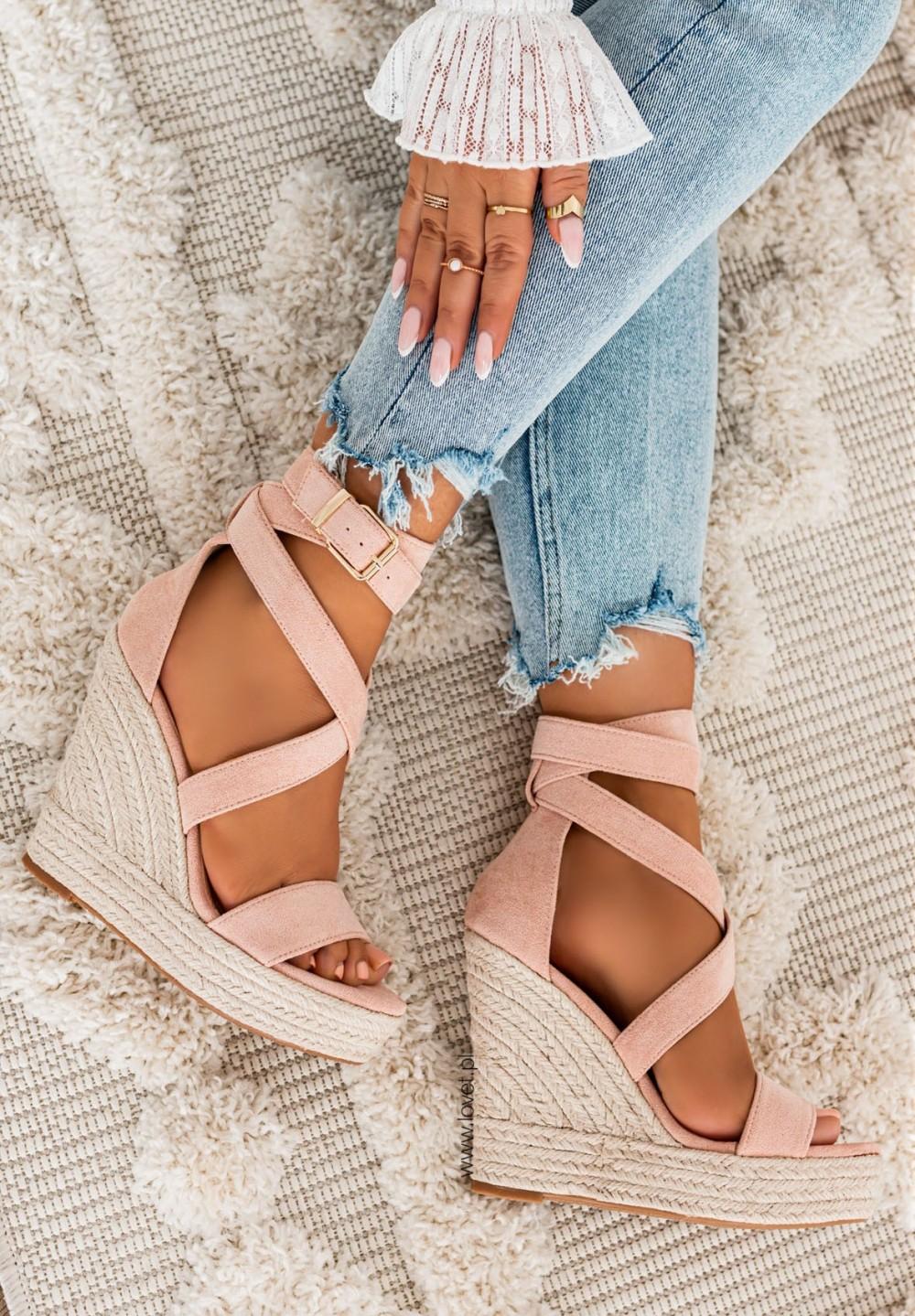 Sandały Espadryle na Koturnie Różowe Agostina New