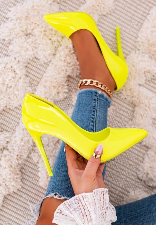 Szpilki Lakierowane Neonowe Żółte Love