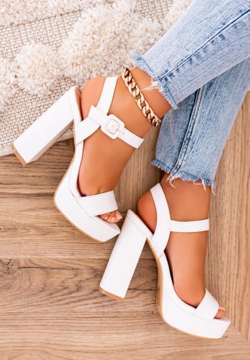 Sandałki na Słupku Białe Romina