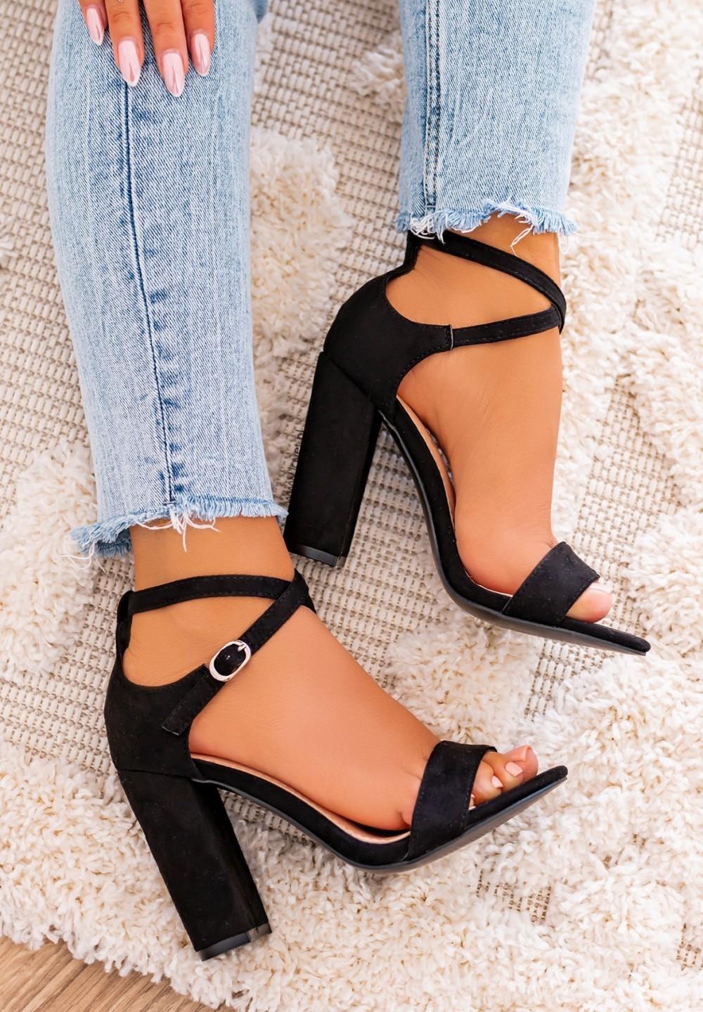 Sandały na Słupku Zamszowe Czarne New Bjork