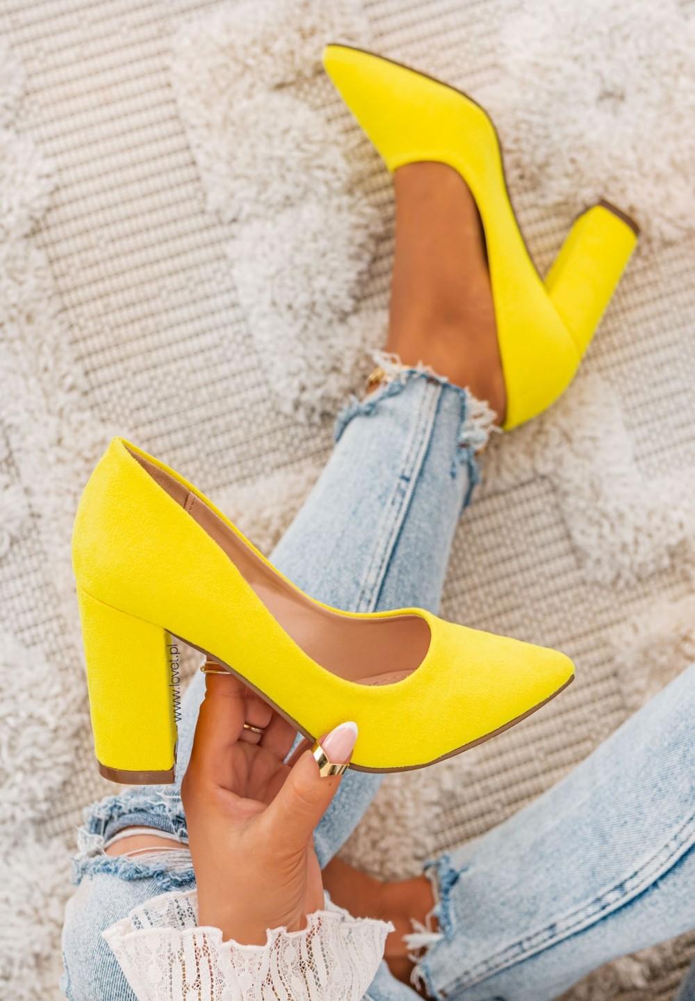 Czółenka na Słupku Zamszowe Żółte Mia