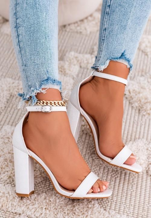 Sandały na Słupku Białe Safia