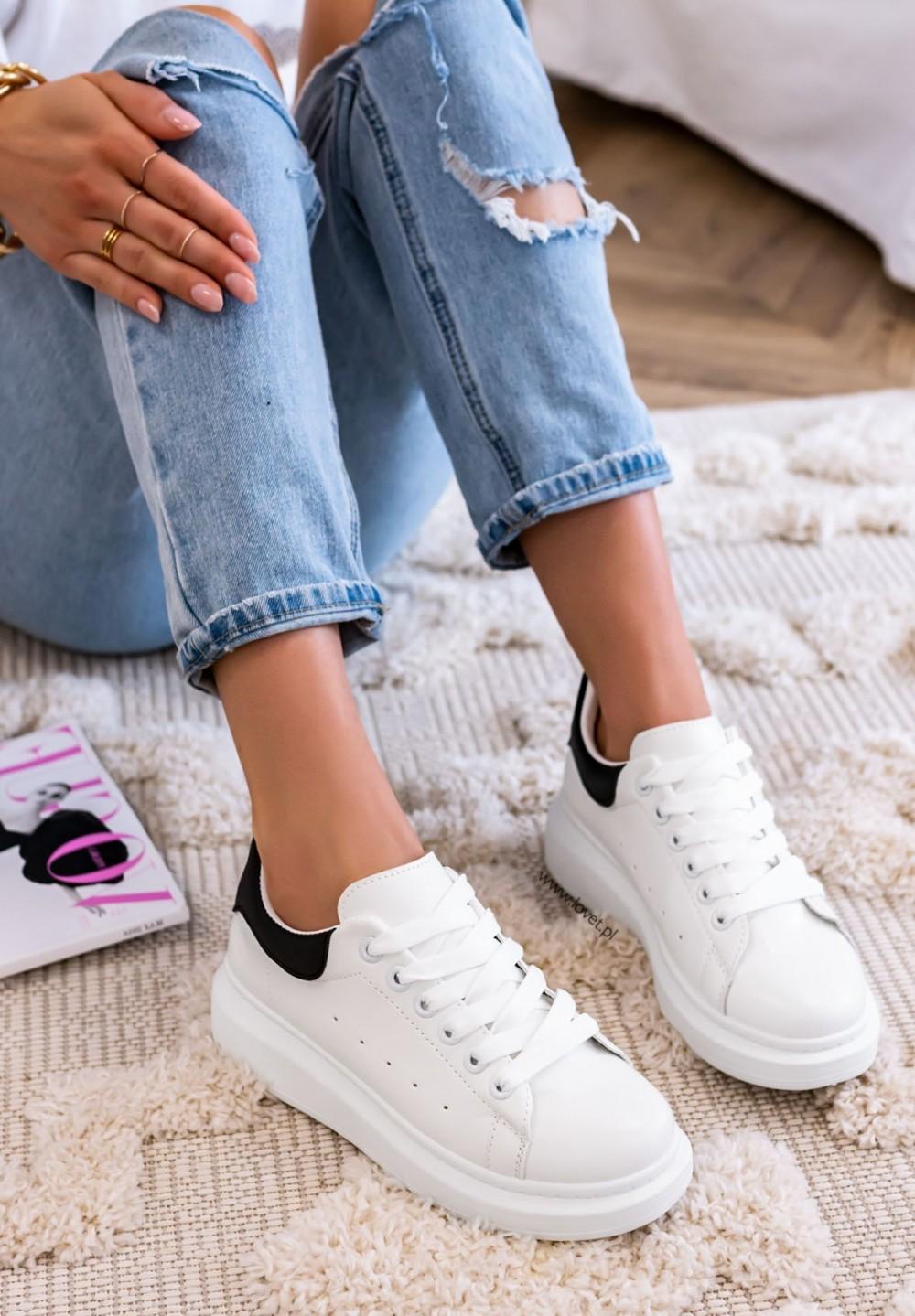 Trampki Sneakersy Biało Czarne Paddy Two