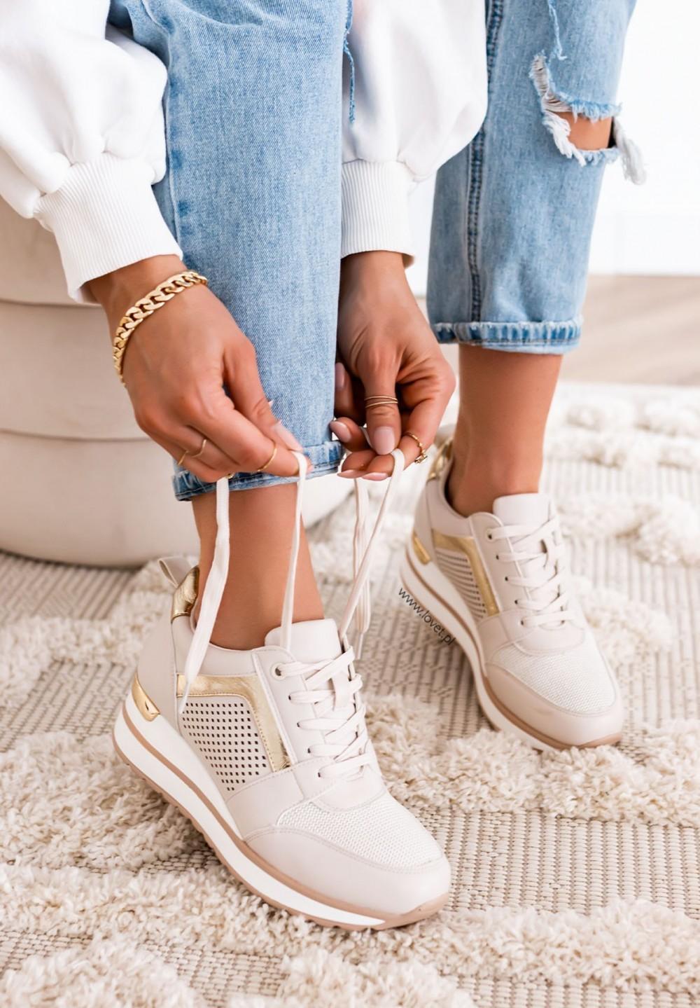 Trampki Sneakersy Beżowe Kollin