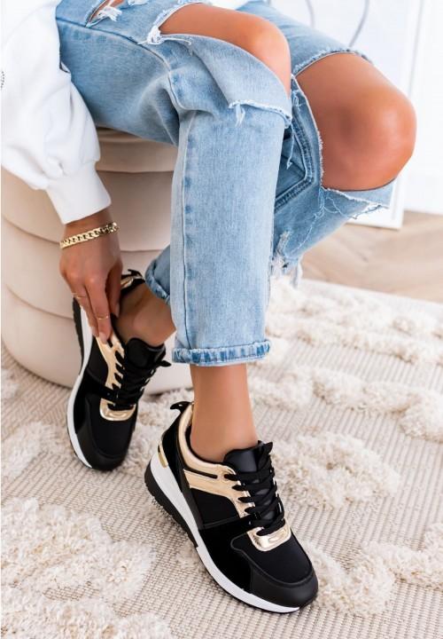 Trampki Sneakersy Czarno Złote Aida