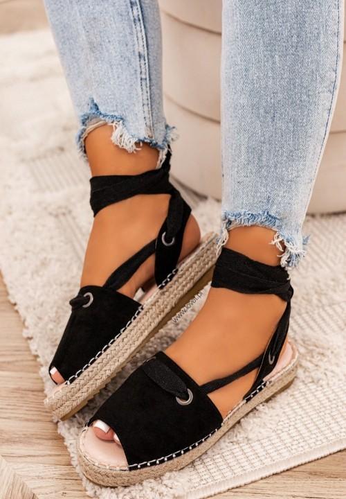 Sandały Espadryle Czarne Rony