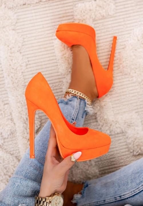 Szpilki Platformy Zamszowe Neon Orange Molly New