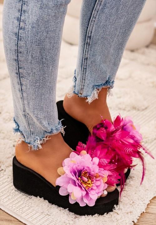 Klapki Na Platformie Czarne Flower Power