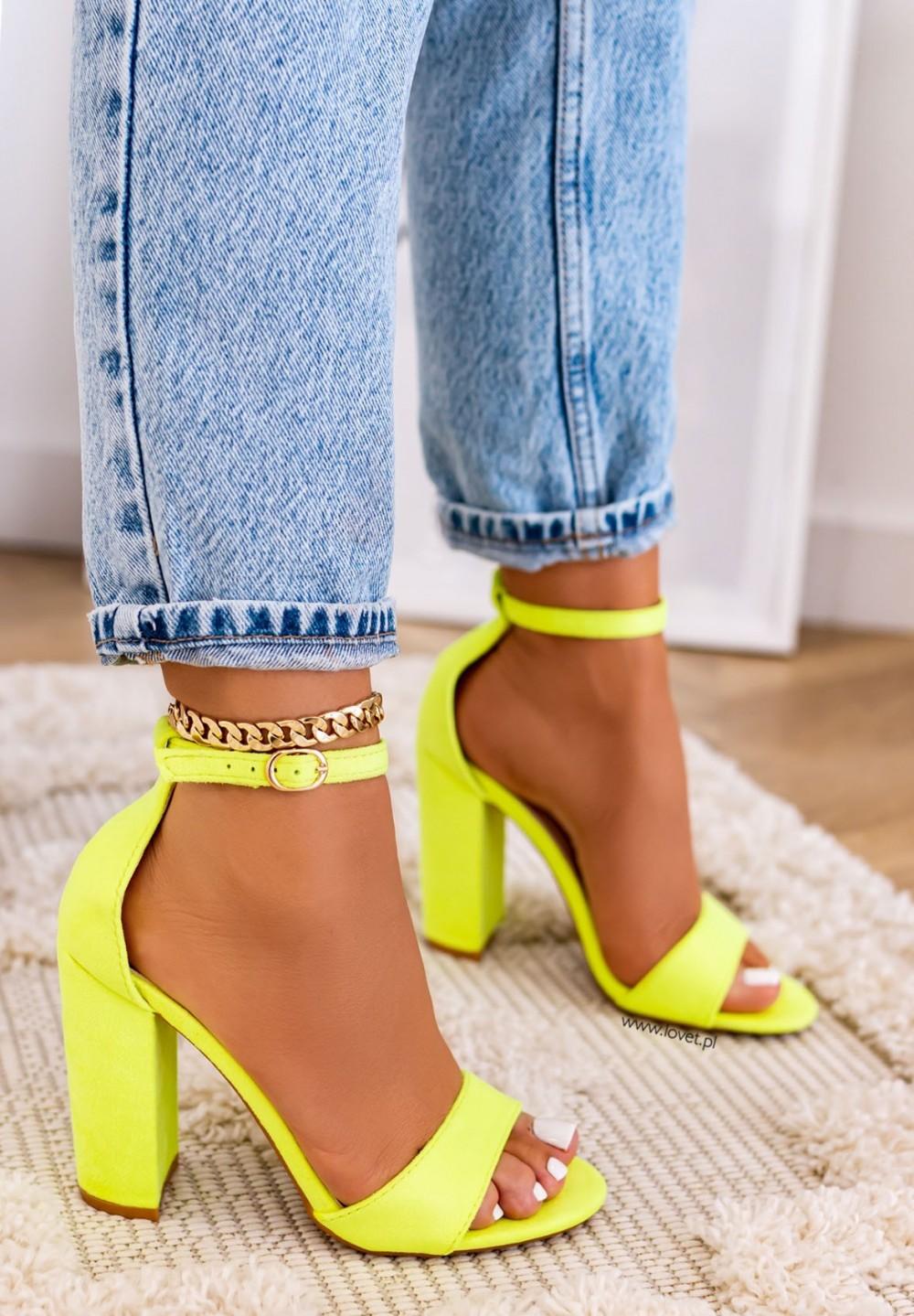 Sandały na Słupku Zamszowe Neon Yellow Vicky