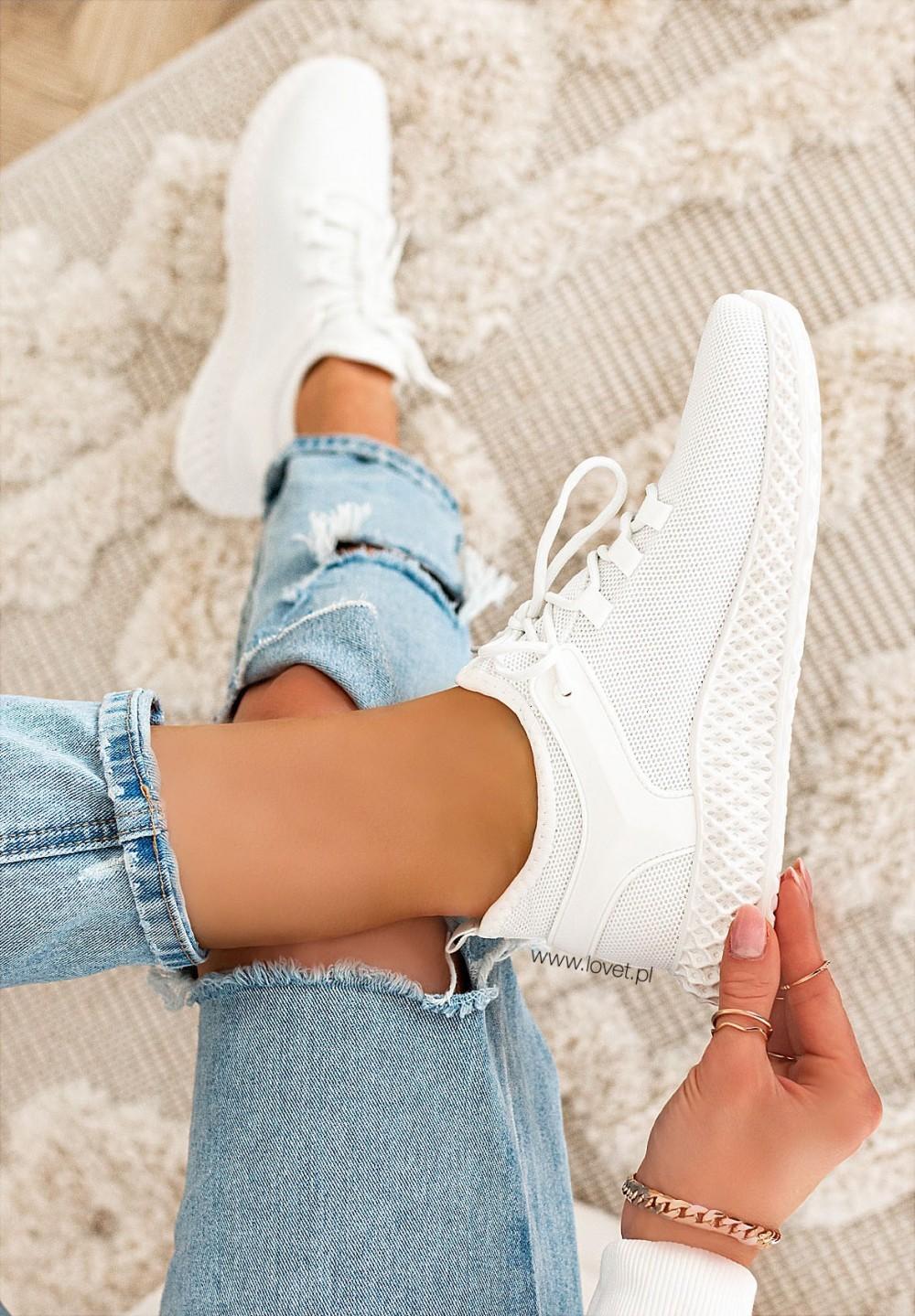 Trampki Sneakersy Siateczkowe Białe Leris