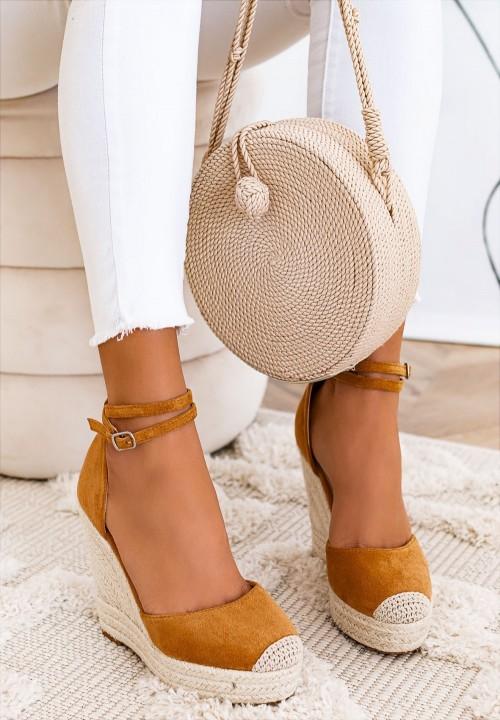 Sandały Espadryle na Koturnie Camelowe  Dayane