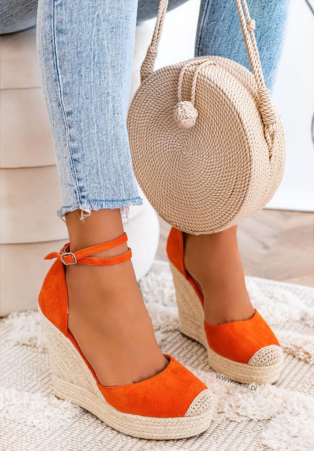 Sandały Espadryle na Koturnie Pomarańczowe Dayane