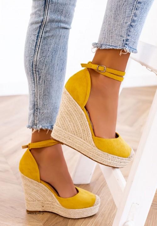Sandały Espadryle na Koturnie Żółte Dayane