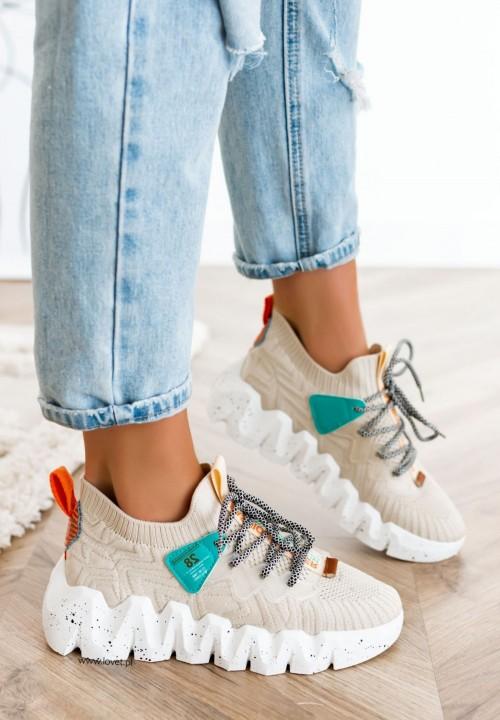 Sneakersy z Elastyczną Cholewką Beżowe Qube