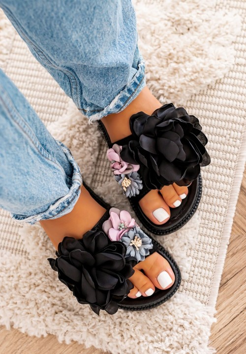 Klapki z Kwiatkami Czarne Fiorine
