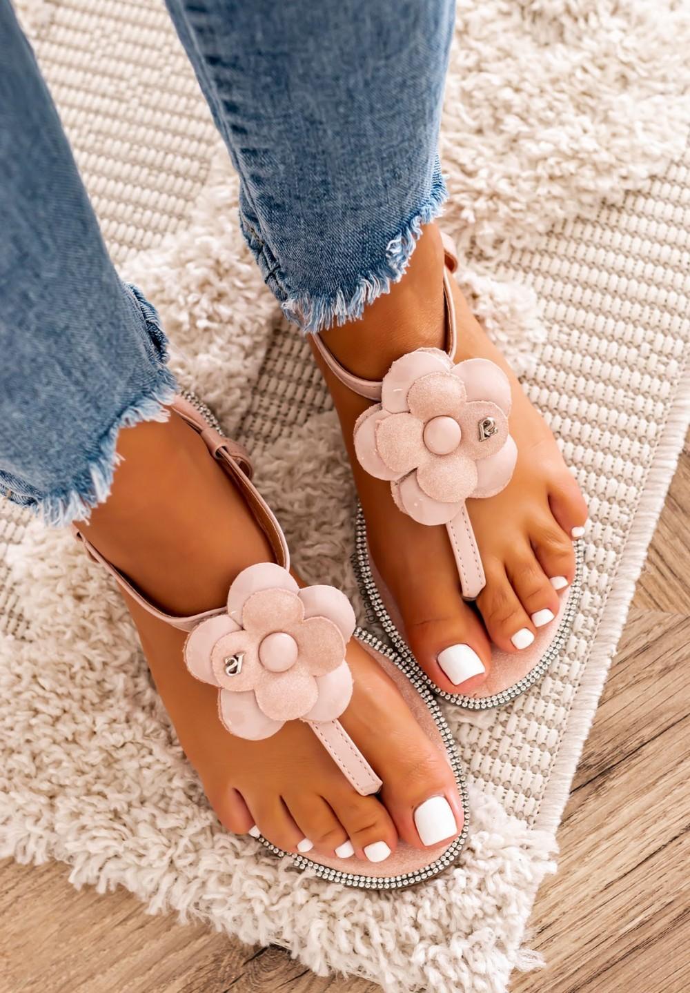 Sandały Japonki z Kwiatkiem Różowe Lili