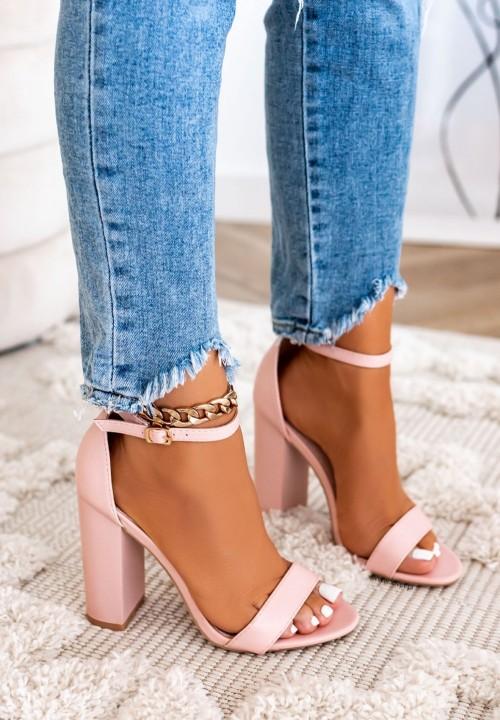 Sandałki na Słupku Różowe Samantha