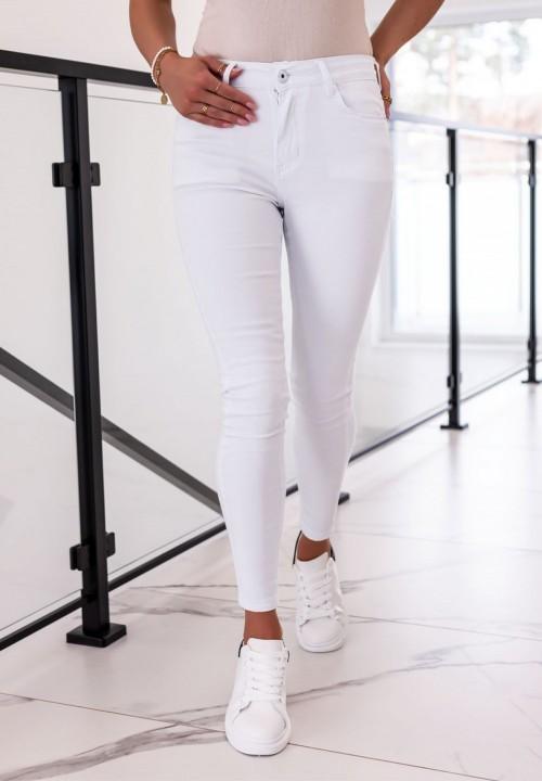 Spodnie Jeansowe Białe Leona