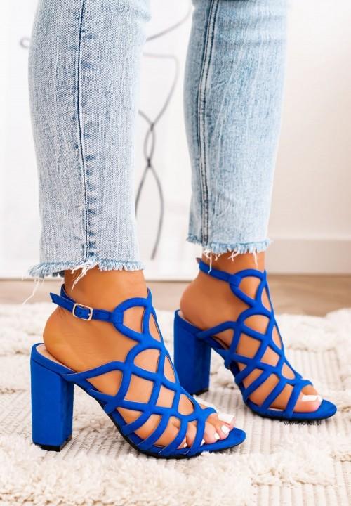 Sandały Zamszowe na Słupku Niebieskie Delis